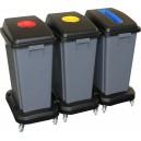 Sestava odpadkových košů na tříděný odpad 3x60 l, na kolečkách, plast