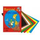 Papíry barevné složka A4, 8 listů - lepicí