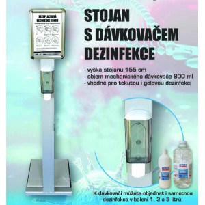 Stojan s dávkovačem dezinfekce
