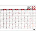 BKA5 Nástěnný roční kalendář B1 2020 - červený