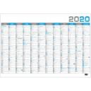BKA4 Nástěnný roční kalendář B1 2020 - modrý