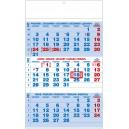 BNC1 Nástěnný kalendář A3 - Tříměsíční -  modrý 2019