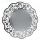 Dekorativní krajky kulaté, stříbrné 32 cm [4 ks]